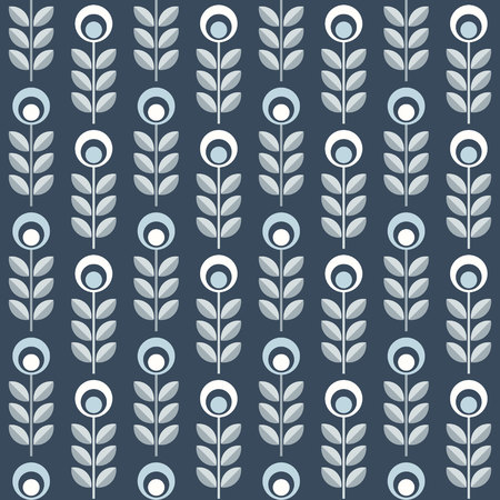 Scandinavian floral background, mid century wallpaper, seamless pattern. Vector illustration. Retro interior home decor in navy blue and silver gray colors.