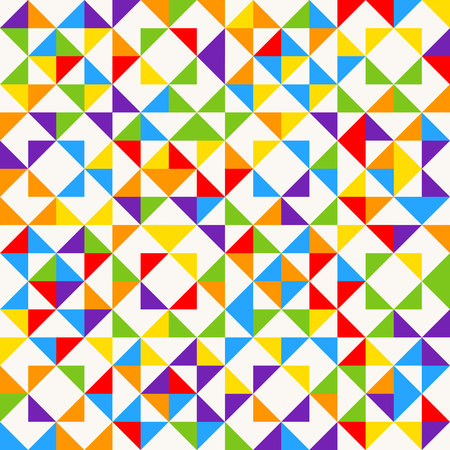 Rainbow mosaic tiles, abstract geometric background, seamless vector pattern. Vectores