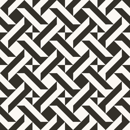 Black and white abstract geometric quilt pattern. High contrast geometric background with triangles. Simple colors - easy to recolor. Minimal background. Vector illustration.  イラスト・ベクター素材
