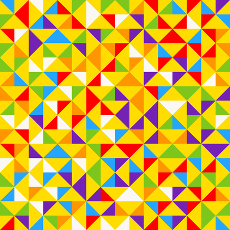 Rainbow mosaic tiles, abstract geometric background, seamless vector pattern. Colorful geometric background with triangles. Minimal background, rainbow colored. Vector illustration.