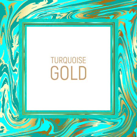Abstract background, vector marble texture imitation. Marbleized pattern vector. Wedding invitation template with liquid ink background. Turquoise marble malachite with gold streaks texture effect. Ilustração