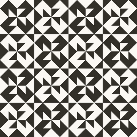 Black and white abstract geometric quilt pattern. High contrast geometric background with triangles. Simple colors - easy to recolor. Minimal background. Vector illustration. Vectores