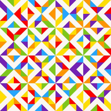 Regenbogenmosaikfliesen, abstrakter geometrischer Hintergrund, nahtloses Vektormuster. Bunter geometrischer Hintergrund mit Dreiecken. Minimaler Hintergrund, Regenbogen gefärbt. Vektor-illustration Standard-Bild - 99182092