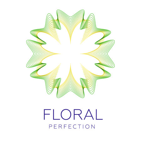 Fantastic flower icon, abstract shape with lots of blending lines and gradient color vector illustration. Sample text floral perfection.