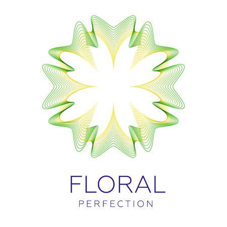 Icona fantastica del fiore, forma astratta con un sacco di linee di miscelazione e illustrazione di vettore di colore sfumato. Testo di esempio perfezione floreale.