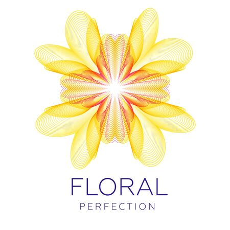 Fantastic flower icon, abstract shape with lots of blending lines and gradient color. Vector illustration. Sample text - Floral perfection. Vektorgrafik