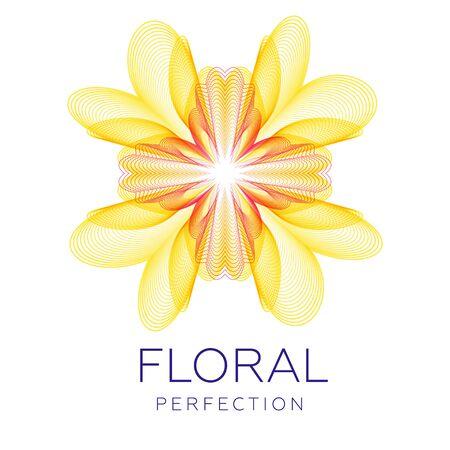 Icona del fiore fantastico, forma astratta con molte linee di fusione e sfumatura di colore. Illustrazione vettoriale Testo di esempio - Perfezione floreale. Vettoriali