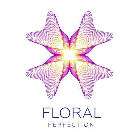 Fantastic flower icon, abstract shape with lots of blending lines and gradient color. Vector illustration. Sample text - Floral perfection.