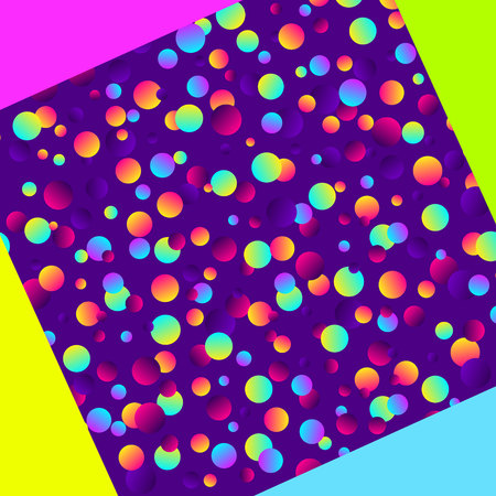 Colorful gradient balls on purple background. Abstract geometric background with different circles. Bright neon colors, 90's style vector illustration.