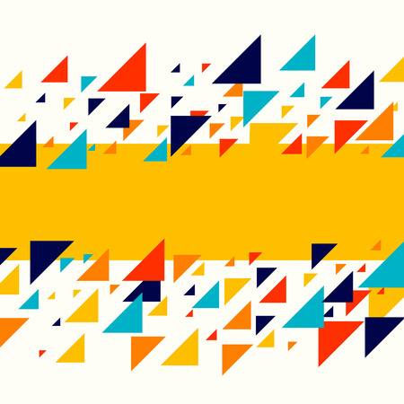 Abstract geometric background - multicolor triangles pattern. Vector illustration. Red, yellow, orange, navy blue colors. Rainbow colored triangles mosaic tessellation. Stock Vector - 101850582