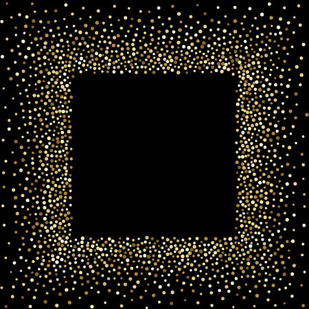 Luxury golden frame on black, gold glittering confetti particles on dark background. Scattered golden dots. Vector illustration.