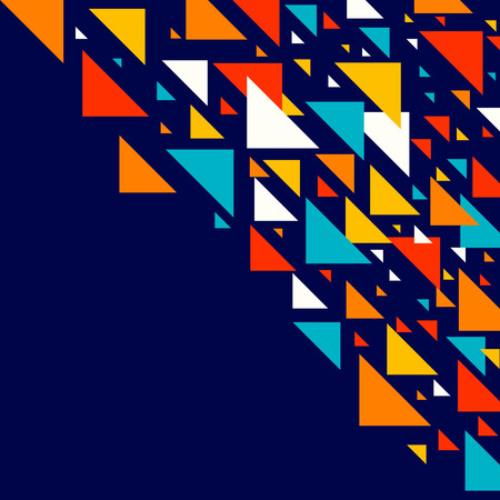 Abstract geometric background - multicolor triangles pattern. Vector illustration. Red, yellow, orange, navy blue colors. Rainbow colored triangles mosaic tessellation.