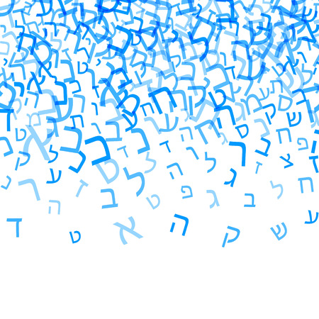 All letters of Hebrew alphabet, Jewish ABC background. Hebrew letters wordcloud word cloud. Vector illustration. Blue and white text typography background. Stok Fotoğraf - 102957356