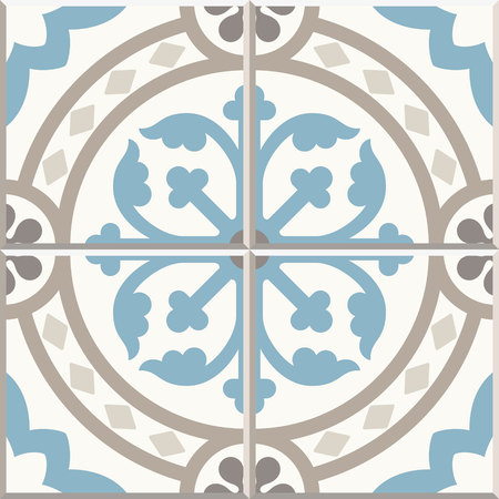 Ancient floor ceramic tiles. Flooring tiling seamless vector background. Vector illustration.