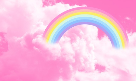 Cotton candy sky pink background illustration, rainbow in the clouds. Fantasy illustration.