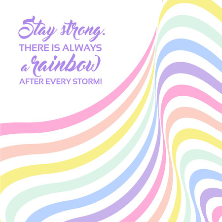 Pastel rainbow background, inspirational quote lettering - Stay strong. LGBTQ colors. Abstract geometric striped pattern, rainbow stripes. Vector illustration. Colorful wave, wavy LGBT flag. Ilustração