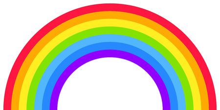 Rainbow arc shape, half circle, bright spectrum colors, colorful striped pattern. Vector illustration. Rainbow icon.