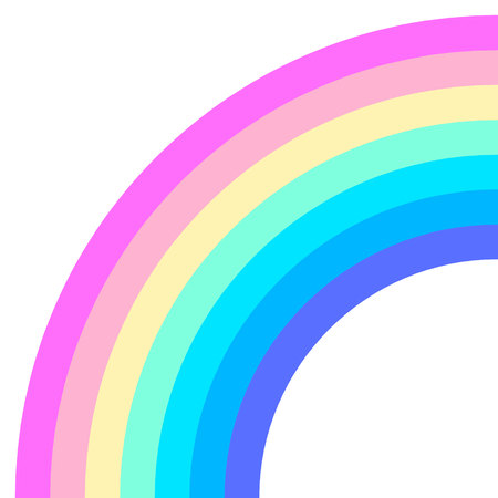 Rainbow half arc shape, quarter circle, pastel neon spectrum colors, colorful striped pattern. Vector illustration. Rainbow icon.