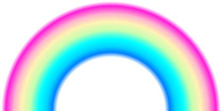 Rainbow arc shape, half circle, bright spectrum colors, colorful striped pattern. Vector illustration. Rainbow icon.