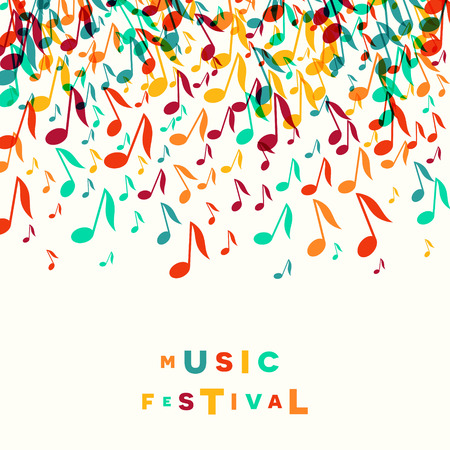Colorful Music Festival notes background. Random colored musical festival poster design template. Vector Illustration