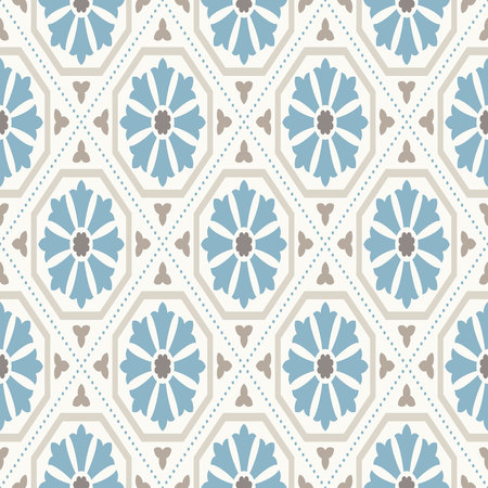 Modern geometric pattern, inspired by vintage wallpapers. Nice retro colors - grey beige, calm blue. Seamless vector pattern. Perfect for fabric design, wrapping paper, wallpapers, web backgrounds etc