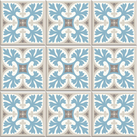 Ancient floor ceramic tiles. Flooring tiling seamless vector background. Vector illustration. Victorian English floor tiling design. Portuguese cement tiles pattern. Grey-blue and golden brown colors