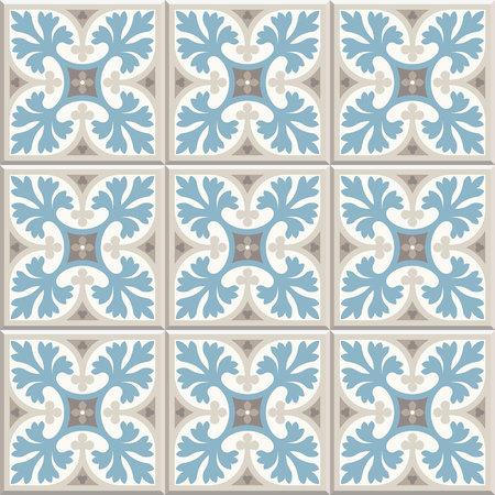 Ancient floor ceramic tiles. Flooring tiling seamless vector background. Vector illustration. Victorian English floor tiling design. Portuguese cement tiles pattern. Grey-blue and golden brown colors Stock fotó - 104384262
