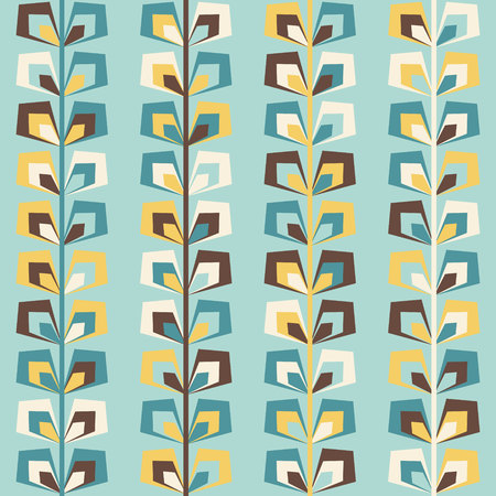 Midcentury geometric retro background. Vintage brown, mustard yellow and teal colors. Seamless floral mod pattern, vector illustration. Abstract retro midcentury 60s 70s background. Retro wallpaper.