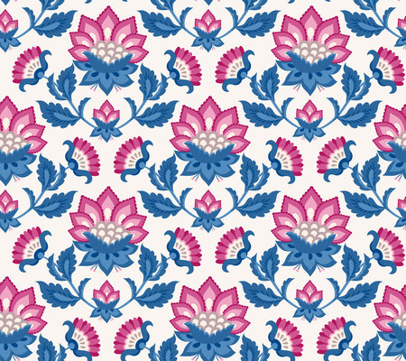 Jacobean floral illustration., meadow flowers background. Colorful herbs background. Seamless vector pattern. Jacobean embroidery floral, herbal collection, pink and blue flowers. Иллюстрация