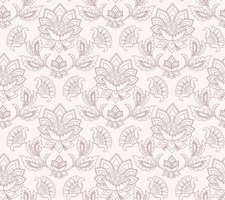 Jacobean floral illustration., meadow flowers background. Two colors herbs wallpaper background. Seamless vector pattern. Jacobean embroidery floral, herbal collection.