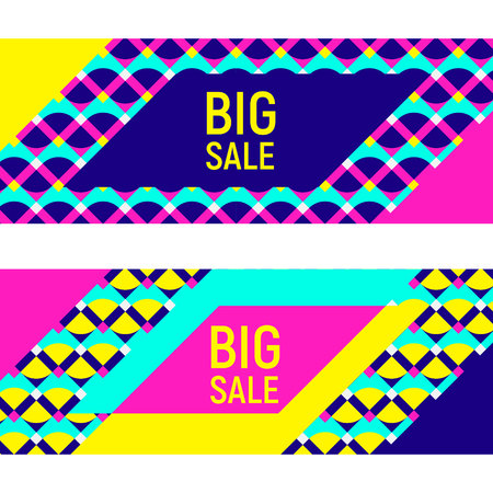 Two abstract geometric backgrounds, different geometric shapes. Sample text - Big Sale. Memphis style. Bright and colorful neon color banners, 90s style. Vector illustration