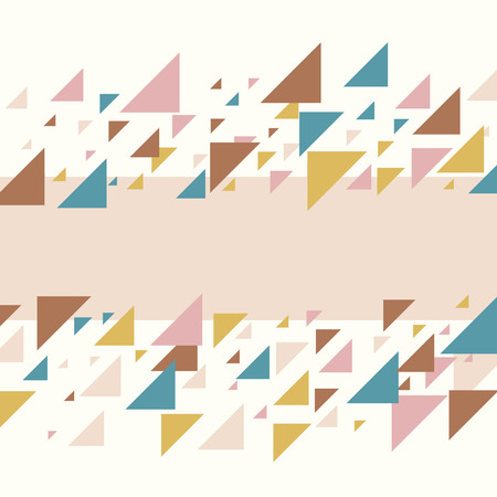 Abstract geometric background - multicolor triangles pattern. Vector illustration. Pastel blush pink and mustard yellow colors. Pastel colored triangles mosaic tessellation.
