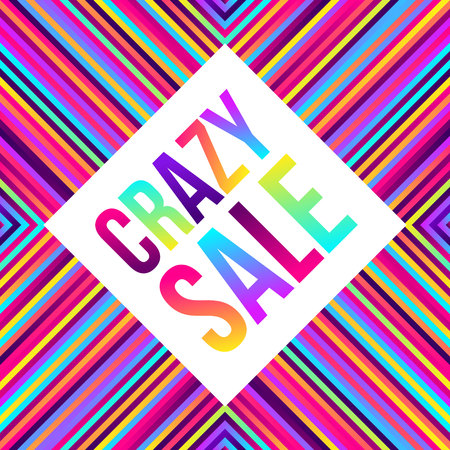 Crazy sale web banner, lots of colorful lines, frame for text. Vector illustration. Abstract geometric background 80s style, bright neon colors.