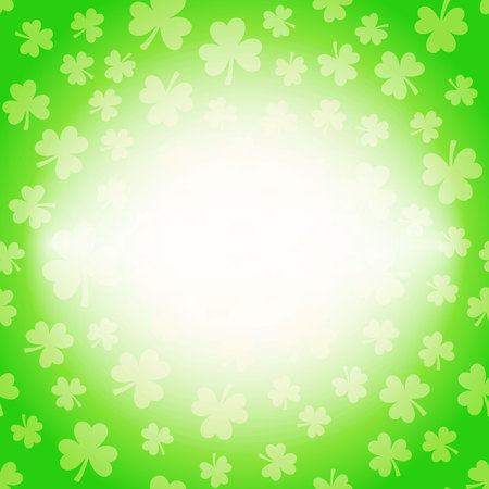 Vector illustration of clover leaves on white. St Patricks Day greeting card with lucky shamrocks on background