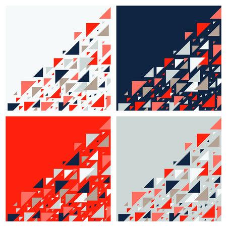 Conjunto de cuatro antecedentes geométricos abstractos - patrón de triángulos multicolores. Ilustración de vector. Colores rojo, blanco, gris, azul marino. Teselación de mosaico de triángulos de colores vivos audaces.