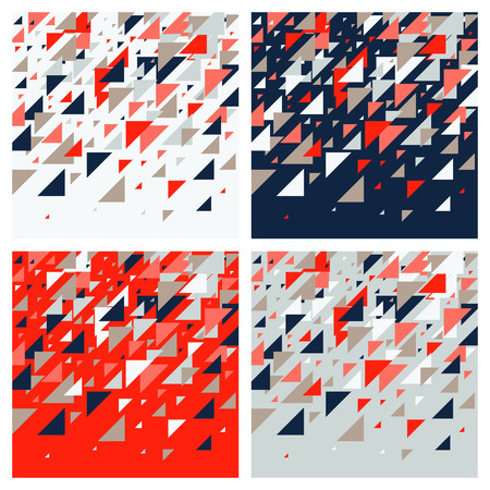 Set of four abstract geometric background - multicolor triangles pattern. Vector illustration. Red, white, grey, navy blue colors. Bold vivid colored triangles mosaic tessellation. Ilustração