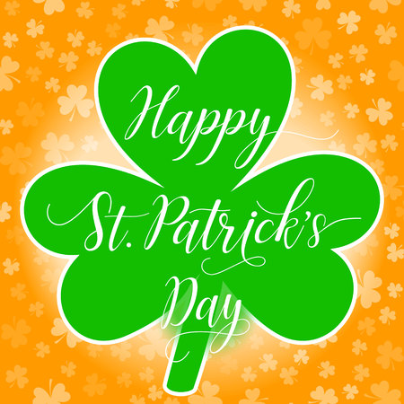 Happy St Patricks Day greeting card or poster or web banner template with clover leaf and shamrock leaves background. Vector illustration.
