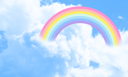 Cotton candy sky blue background illustration, rainbow in the clouds. Fantasy illustration. 版權商用圖片