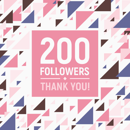 Thanks for following. Social network banner template design. Vector illustration. Social media image - Thank you followers. Abstract geometric random pattern background in millennial pink colors.