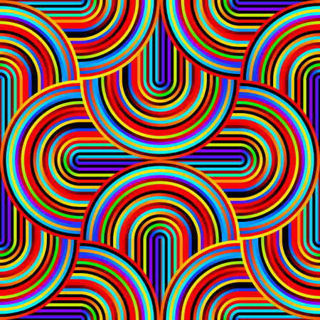 Crazy curves - tangled geometric pattern with bright neon rainbow iridescent colors. Multicolor curvy lines. Abstract geo geometric technology background.