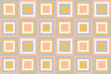 Abstract geometry in retro colors, geometric shapes geo pattern. Seamless vector pattern. Mustard yellow and coral pink background. Fashion fabric pattern design. Retro midcentury wallpapers