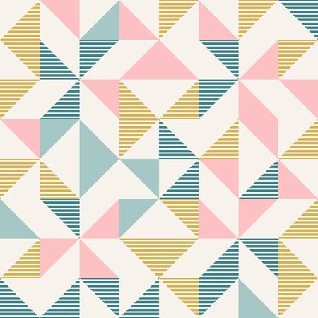 Abstract geometric diamond shapes geo print. Seamless vector pattern. Mint, blush pink, mustard yellow, teal retro colors background. Fashion fabric patchwork design. Retro mid century wallpapers.