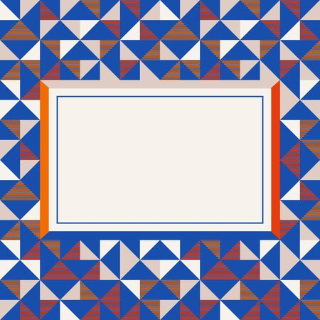 Square frame in red and blue colors. Abstract geometric background pattern, diamond geo shapes. Vector illustration. Bright colors kids background for banner, party poster template.