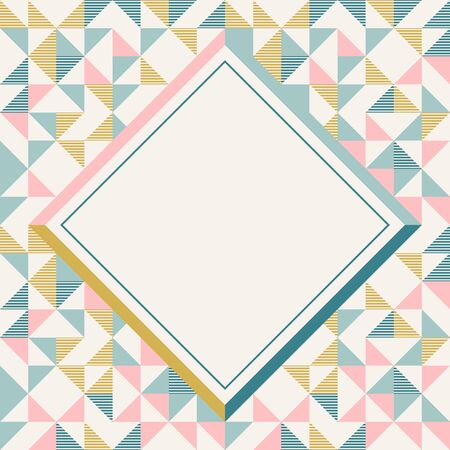 Square frame in retro colors. Abstract geometric background pattern, diamond geo shapes. Vector illustration. Mint, blush pink, mustard yellow, teal retro colors background for banner, party poster.