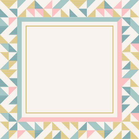 Square frame in retro colors. Abstract geometric background pattern, diamond geo shapes. Vector illustration. Mint, blush pink, mustard yellow, teal retro colors background for banner, party poster. 版權商用圖片 - 131971808