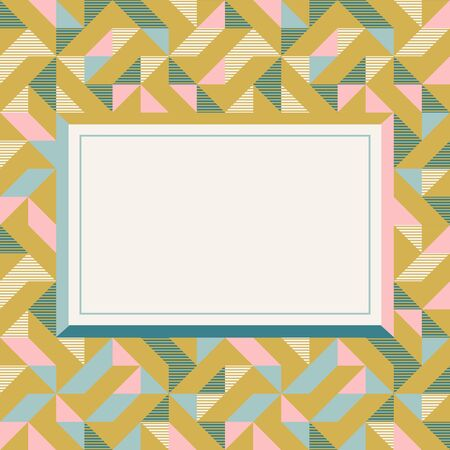 Square frame in retro colors. Abstract geometric background pattern, diamond geo shapes. Vector illustration. Mint, blush pink, mustard yellow, teal retro colors background for banner, party poster. 版權商用圖片 - 131971810