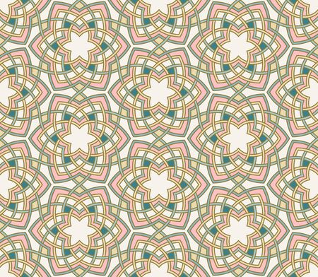 Intricate floral lotus background, vector seamless pattern. Teal, mint, pink, mustard yellow retro colors. Tangled flowers ornament
