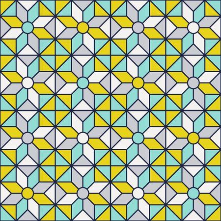 Retro mid century geo geometric pattern. Vintage colors - mint, mustard yellow, navy blue. 70s vintage geometry