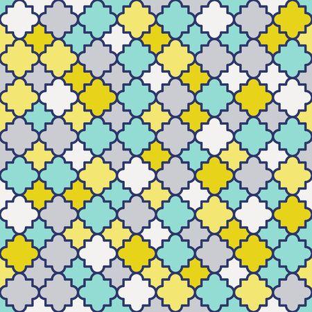 Traditional quatrefoil lattice pattern. Colorful quatrefoil shapes, retro colors - mint, mustard yellow. Seamless vector background.