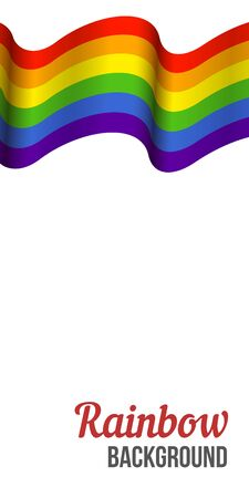 Waving Rainbow flag on white background. Rainbow LGBT flag vector poster or banner template. LGBTQ colors. Vector illustration. Wavy pattern.